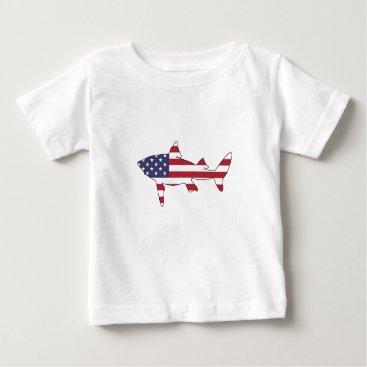 """USA Themed Shark """"American Flag"""" Baby T-Shirt"""