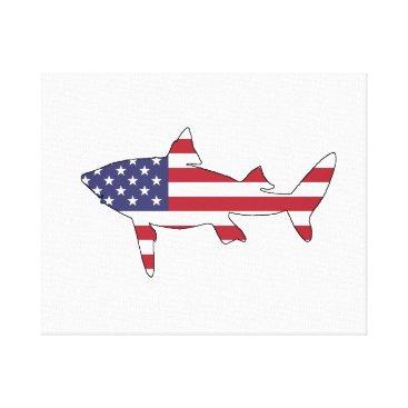 "USA Themed Shark ""American Flag"" Canvas Print"