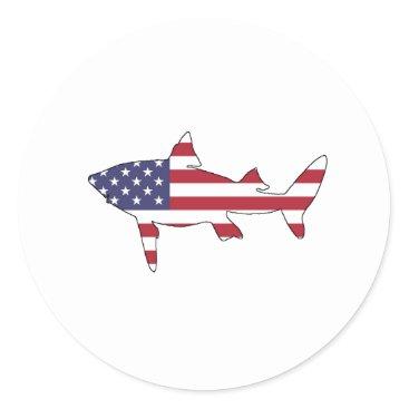 "USA Themed Shark ""American Flag"" Classic Round Sticker"
