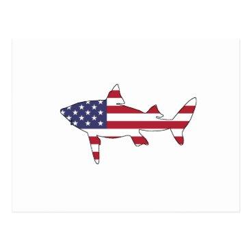 """USA Themed Shark """"American Flag"""" Postcard"""