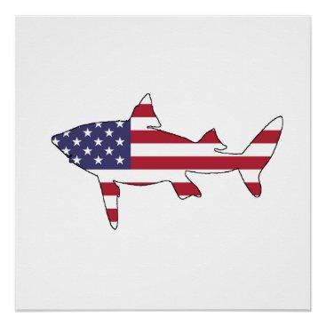 """USA Themed Shark """"American Flag"""" Poster"""