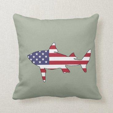 "USA Themed Shark ""American Flag"" Throw Pillow"
