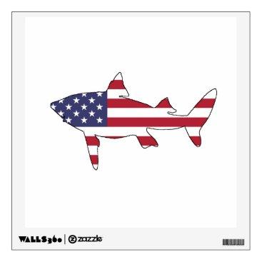 """USA Themed Shark """"American Flag"""" Wall Decal"""