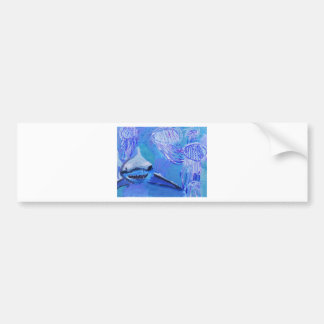Shark and Jellyfish Painting Bumper Sticker
