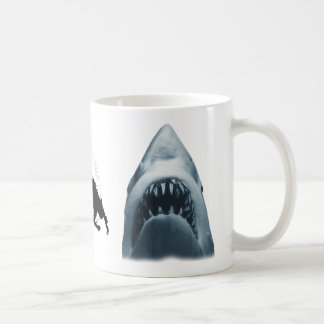 Shark and SCUBA diver Coffee Mugs