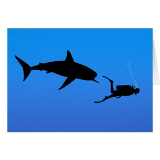 Shark and SCUBA Greeting Cards