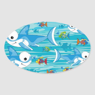 Shark and Tropical Fish Oval Sticker