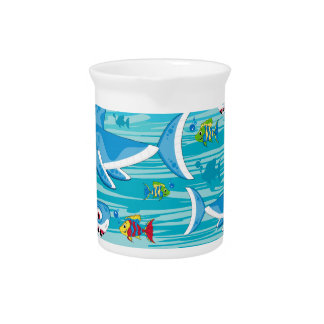 Shark and Tropical Fish Pattern Drink Pitcher