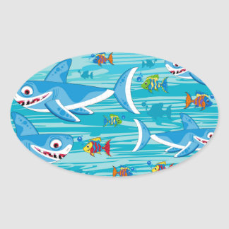 Shark and Tropical Fish Pattern Oval Sticker
