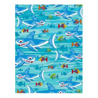 Shark and Tropical Fish Pattern Postcard