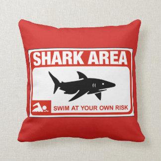 Shark Area, Sign, New York, US Throw Pillows