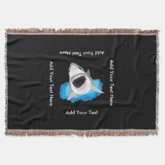 Shark Attack - Add Your Own Funny Caption Throw Blanket