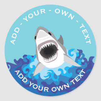 Shark Attack - Add Your Own Text Classic Round Sticker