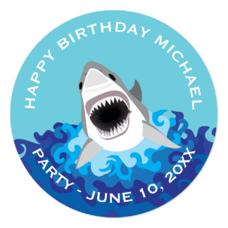 Shark Attack: Birthday Party on Beach or Boat Card