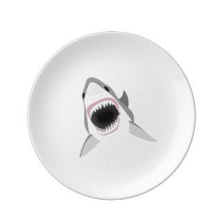 Shark Attack - Bite of the Great White Shark Porcelain Plate