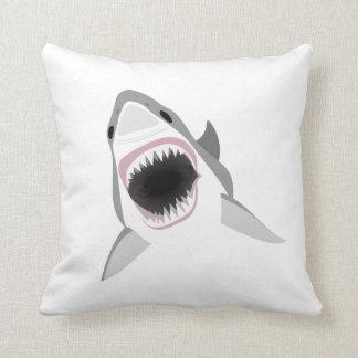 Shark Attack - Bite of the Great White Shark Throw Pillow