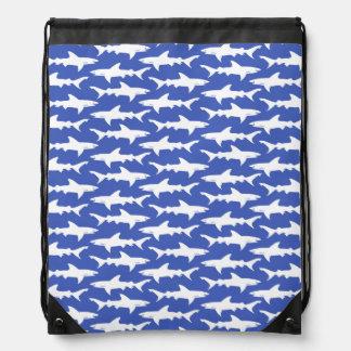 Shark Attack - Blue and White Drawstring Bag