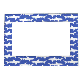 Shark Attack - Blue and White Magnetic Photo Frame