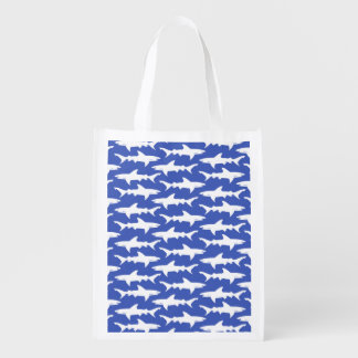 Shark Attack - Blue and White Reusable Grocery Bag