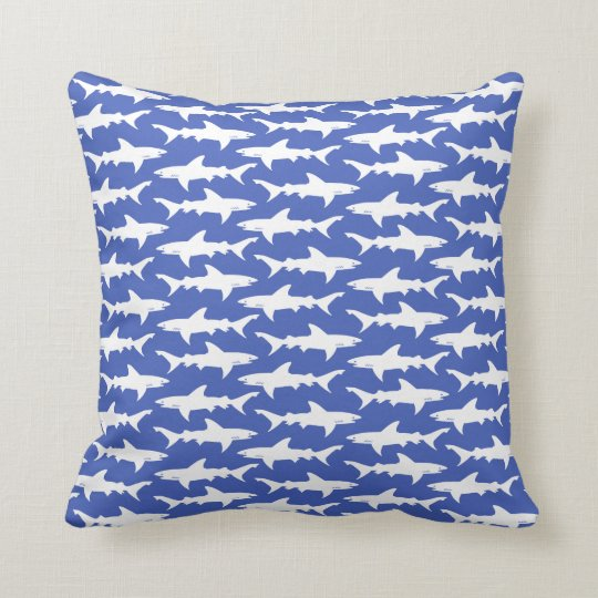 Blue White Throw Pillow : Shark Attack - Blue and White Throw Pillow Zazzle