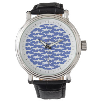 Shark Attack - Blue and White Wrist Watch