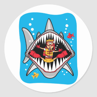 Shark Attack! Classic Round Sticker