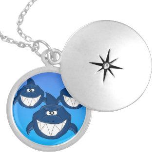 Shark attack design matching jewelry set round locket necklace
