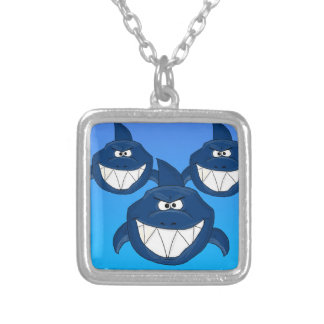 Shark attack design matching jewelry set square pendant necklace