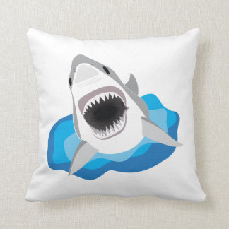 Shark Attack - Great White Shark Leaps from Waves Throw Pillow
