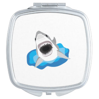 Shark Attack - Great White Shark Leaps from Waves Vanity Mirror