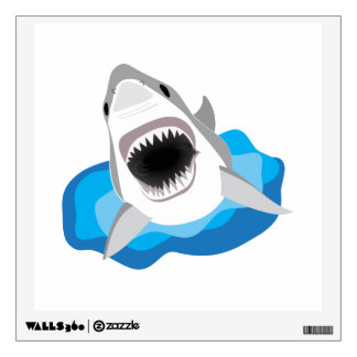 Shark Attack - Great White Shark Leaps from Waves Wall Decal