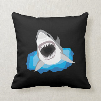 Shark Attack - Great White Shark Throw Pillow