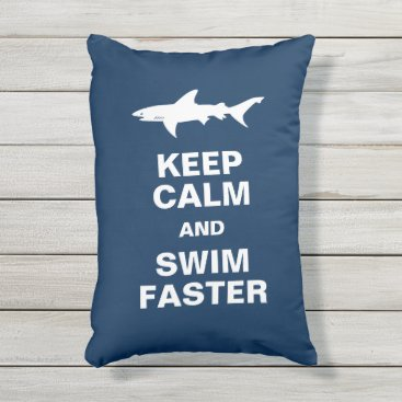 Beach Themed Shark Attack: Keep Calm and Swim Faster Outdoor Pillow