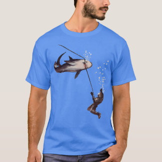 Shark Attack on Vintage Helmet Diver Air Hose T-Shirt