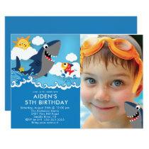 Shark Attack Pool Birthday Invitation