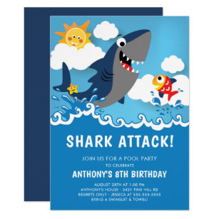 Shark Attack Pool Party Birthday Invitation
