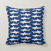 Shark Attack School of Sharks in Blue Ocean Throw Pillow