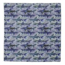 Shark Attack! School of Sharks in Deep Blue Sea Duvet Cover