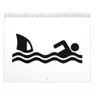 Shark attack swimmer wall calendar