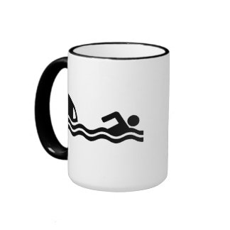 Shark attack swimmer ringer mug