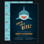 "Shark Bait Birthday Party Invitation<br><div class=""desc"">Cool shark themed birthday party invitations feature a smiling shark swimming in a dark blue sea,  with &quot;join us for a bite&quot; beneath. Personalize with your fin-tastic birthday party details beneath. Invitations reverse to a matching shark pattern.</div>"