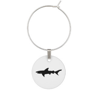Shark  Beware of Sharks Drawing Wine Glass Charms