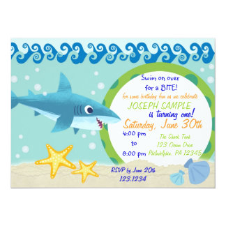 "Shark Birthday Invitation 5.5"" X 7.5"" Invitation Card"