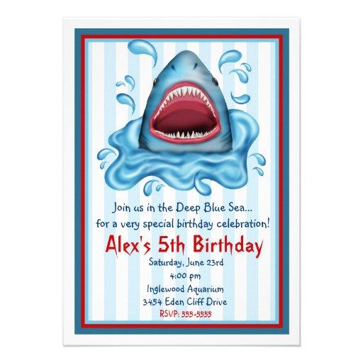 Personalized shark invitations custominvitations4u shark birthday invitations filmwisefo