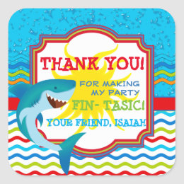 Shark Birthday Party Favor Tag Sticker