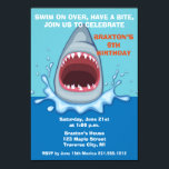 """Shark Birthday Party Invitaitons Invitation<br><div class=""""desc"""">Invite your guest to take a bite out of summer with this fun shark invite.</div>"""