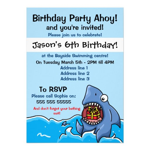 Personalized Great white shark Invitations – Shark Invitations Birthday Party