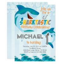 Shark Birthday Party Invitation Boy Summer
