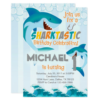 Shark Birthday Invitations Announcements Zazzle