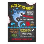 Shark Birthday Swimming Party Invitations at Zazzle